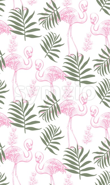 Flamingos and palm leaves seamless pattern Vector. Summer tropical background texture Stock Vector