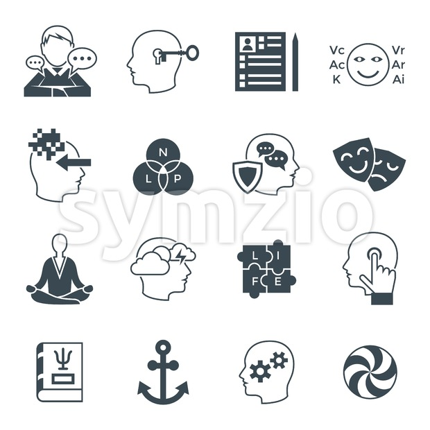 Digital vector neuro linguistic programming icon set Stock Vector