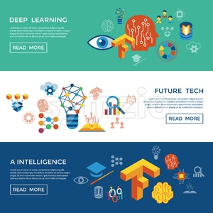 Digital vector deep structured learning and artificial intelligence icon set infogprahics Stock Vector