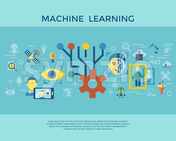 Digital vector deep machine learning and artificial intelligence icon set infogprahics Stock Vector