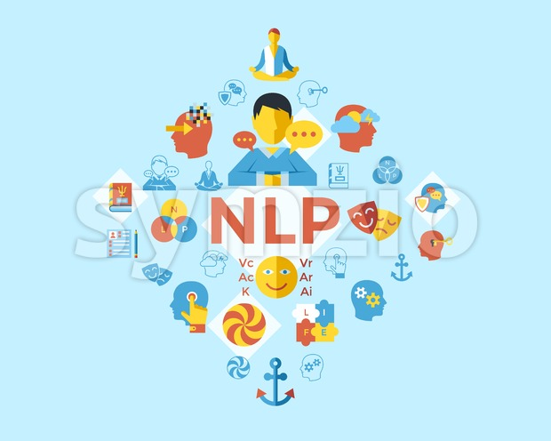 Digital vector neuro linguistic programming icon set infogprahics Stock Vector