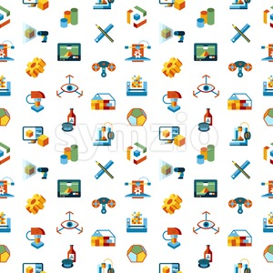Digital vector 3d printing manufacturing technology icon set, seamless pattern Stock Vector