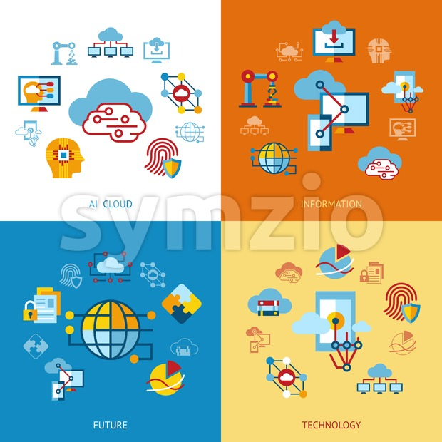 Digital vector artificial intelligence cloud icons set infographics Stock Vector