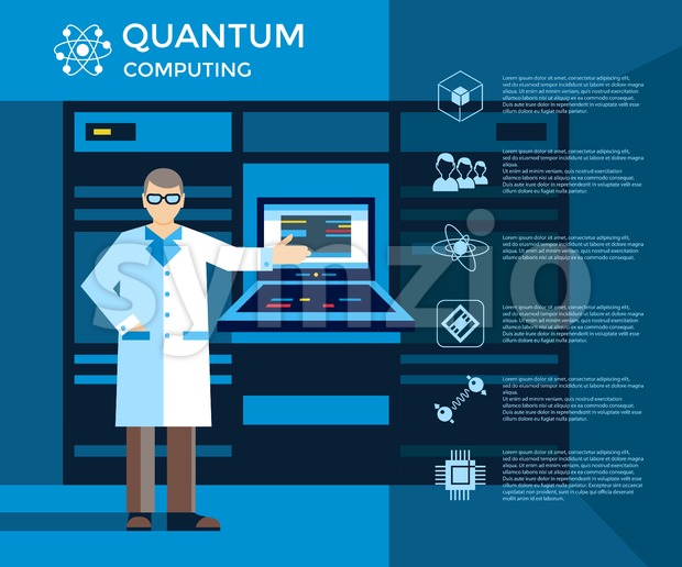 Digital vector quantum computing set infographics layout, engineer presentation Stock Vector