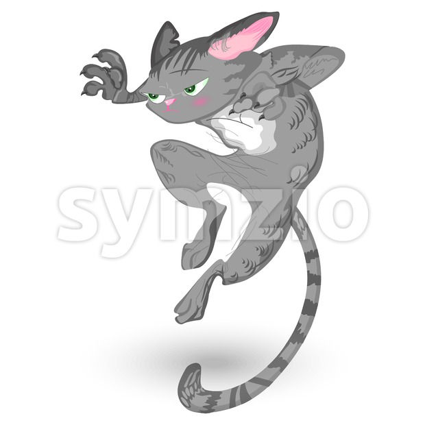 Cat attack Vector. Detailed cartoon character, funny illustration
