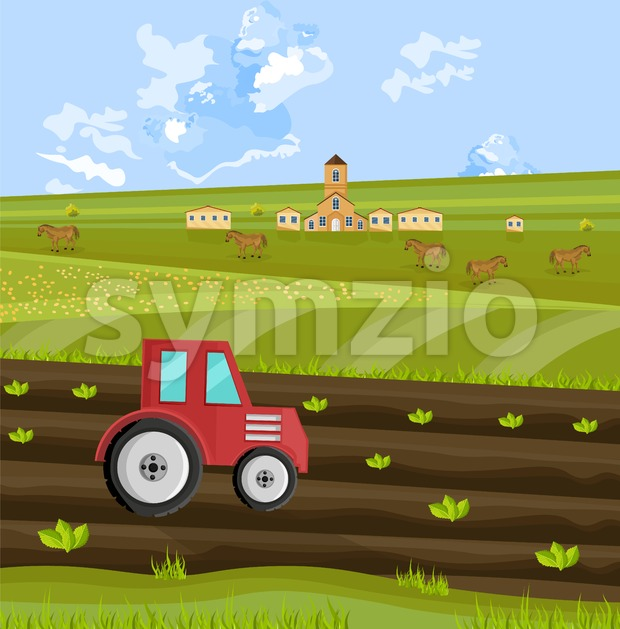 Tractor is processing the earth at the farm Vector illustration Stock Vector
