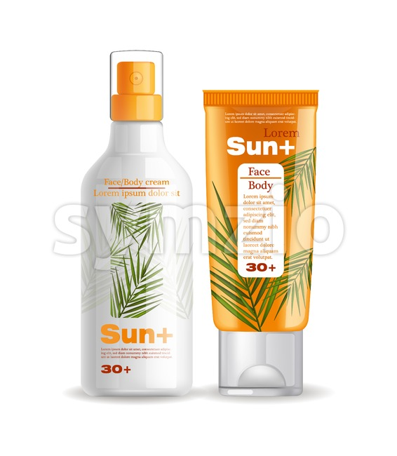 Sun cream and lotion protection Vector mock up. Realistic product packaging set collection. Sun screen Uv protection products. 3d illustration Stock Vector