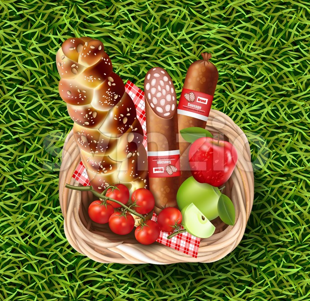 Basket full of food products on green grass Vector realistic. Meat and cherry tomatoes 3d detailed illustration Stock Vector