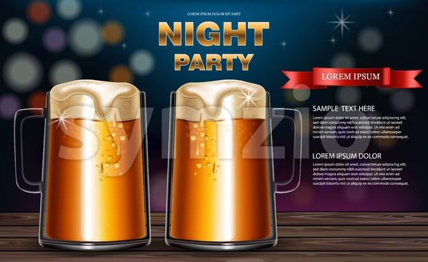 Beer mugs Vector realistic. Party flyer with drinks 3d mock up illustration Stock Vector