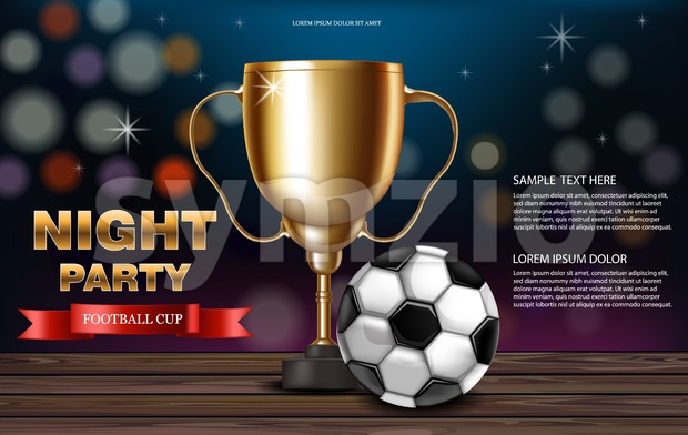 Golden cup and soccer ball Vector realistic. Night party banner with Football. Competition design 3d mock up Flyer template invitation Stock Vector