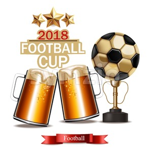 Beer mugs and Football cup winner Vector realistic. 3d mock up illustration Stock Vector