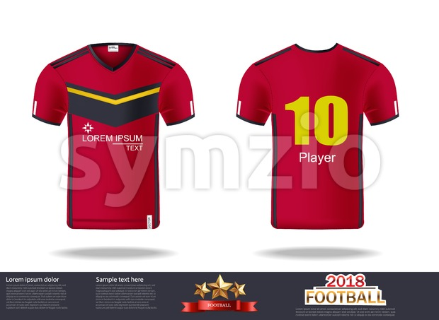 Football t-shirts Vector. Design template for soccer jersey, football kit and tank top for basketball jersey. Sport uniform in front and back view. Stock Vector