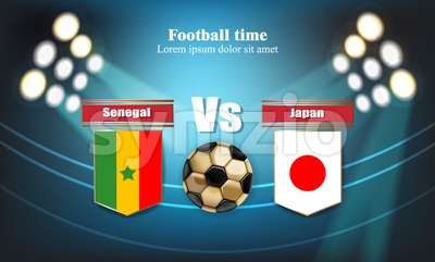 Football board Senegal flag VS Japan. 2018 World championship template match. teams soccer national flags. red and blue trend sport background Stock Vector