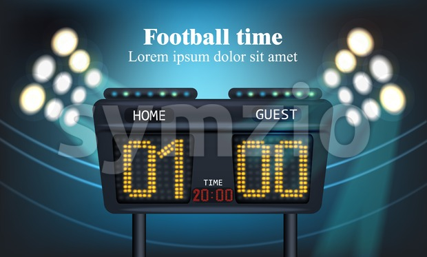 Electronic board for football game score Vector illustration Stock Vector
