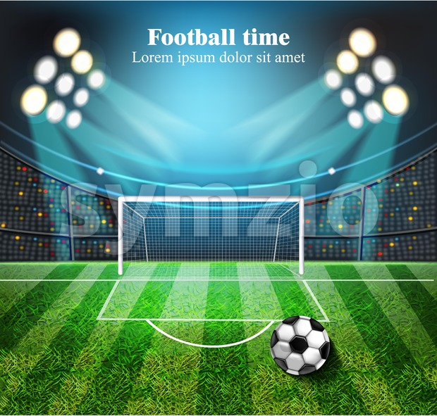 Football field Vector realistic. Soccer ball on the stadium with lights. detailed 3d illustration Stock Vector