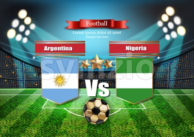 Football board Argentina flag VS Nigeria. 2018 World championship template match. teams soccer national flags. red and blue trend sport background Stock Vector