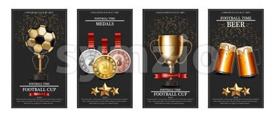 Football prize and medals Vector realistic illustration. Winner cup poster banner Stock Vector
