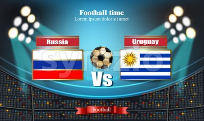 Football board Russia flag VS Uruguay. 2018 World championship template match. teams soccer national flags. red and blue trend sport background Stock Vector