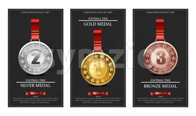 Golden, silver and bronze medals Vector illustration Stock Vector