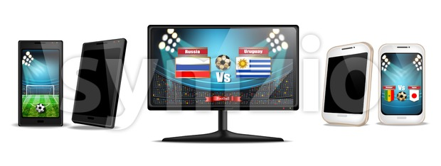 Tv screen and smartphone with football match Vector realistic. Sports betting online. Gadgets isolated on white Stock Vector