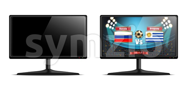 Tv screen with football match Vector realistic. isolated on white Stock Vector