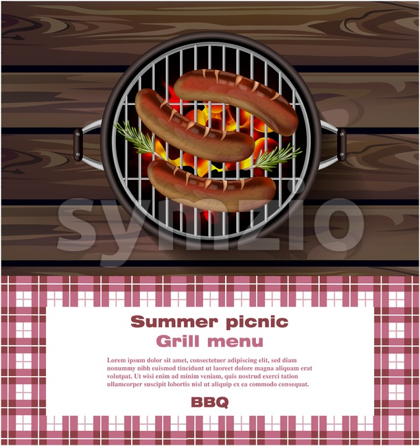 BBQ grill on wooden background. Hot sausages Summer picnic template Vector illustration Stock Vector