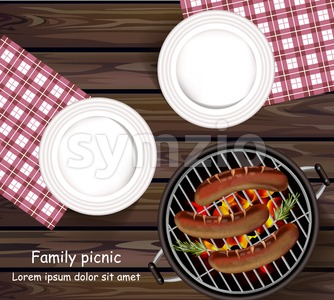 Picnic bbq Vector realistic. Top view plates wooden table and sausages on the grill Stock Vector