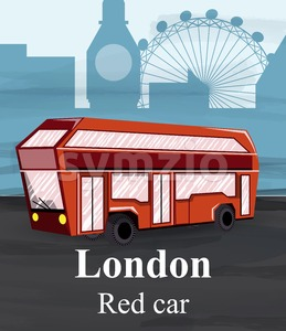London red bus Vector. Travel card poster template. cartoon style illustration Stock Vector