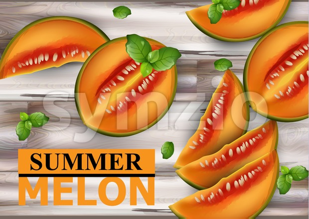 Melon fruits on wooden background Vector. Summer fresh sliced juicy melon realistic style illustration Stock Vector