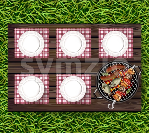 Picnic bbq Vector realistic. Top view plates on wooden table and sausages on the grill Stock Vector