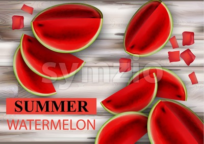 Summer watermelon Vector. Fruits slices on wooden background Stock Vector