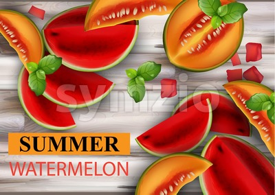 Summer watermelon and melon Vector. Fruits slices on wooden background Stock Vector