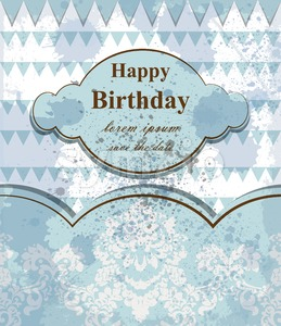 Happy birthday baby card Vector. delicate lace and clouds theme. blue color Stock Vector