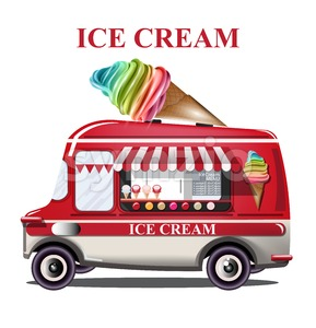 Ice cream stand vehicle Vector. Summer background. Birthday card or event poster Stock Vector