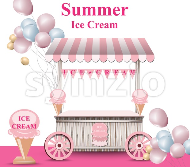 Ice cream stand with balloons Vector. Summer background. Birthday card or event poster Stock Vector