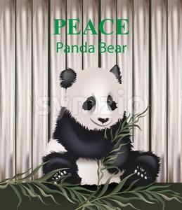Cute panda bear Vector. Lovely animal eating grass. Peace message text Stock Vector