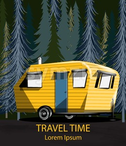 Travel car in the forrest Vector. Yellow Camping trailer into the woods at night Stock Vector