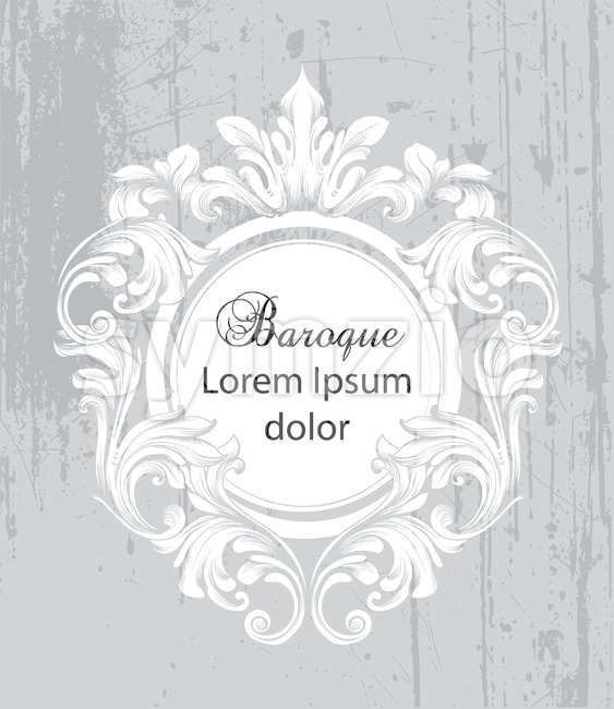 Vintage baroque frame card Vector. Detailed rich ornament illustration graphic line art Stock Vector