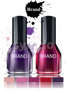 Nail polish Cosmetics watercolor Vector. Product packaging brand collection. Stylish Beauty items mock up Stock Vector