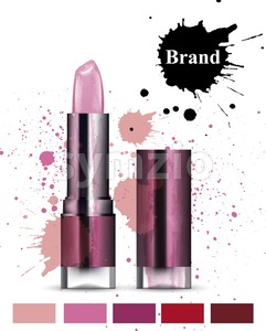 Lipstick cosmetics watercolor Vector. Product packaging design. Brand mock up cosmetics template, delicate pink color Stock Vector