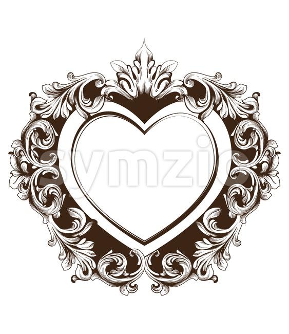 Vintage baroque frame heart shape card Vector. Detailed rich ornament illustration graphic line art Stock Vector