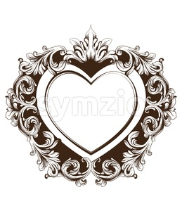 Vintage baroque frame heart shape card Vector. Detailed rich ornament illustration graphic line art Stock Vector