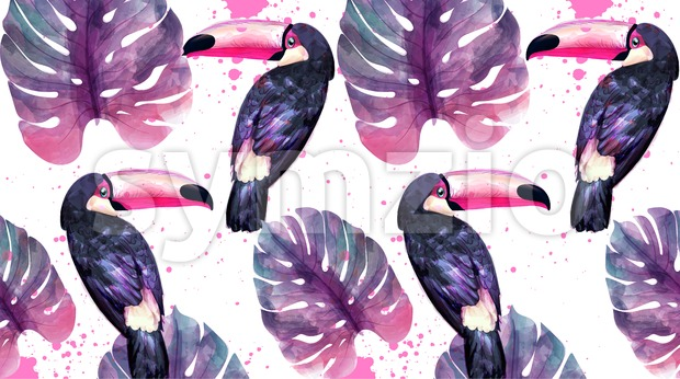 Tropical paradise with watercolor parrots and palm leaves background Vector. ultra violet trendy color Stock Vector