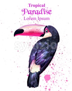 Tropical paradise parrot bird watercolor Vector. Paint splash background Stock Vector