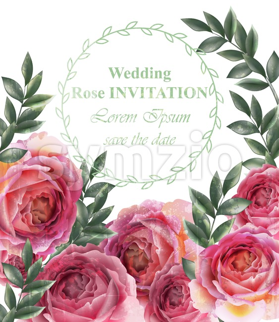 Wedding invitation Vintage roses background Vector. Floral card retro decor Stock Vector