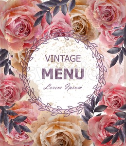 Vintage roses background Vector. Floral card retro decor Stock Vector
