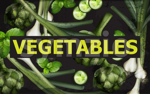 Vegetables background Vector. Green veggie organic illustration Stock Vector