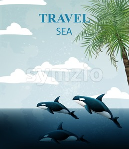 Summer Travel card with whales Vector. Tropic sea water background Stock Vector