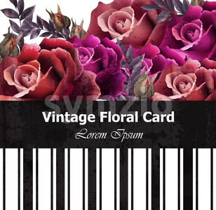 Vintage realistic roses floral card. Beautiful background. Retro design graphic styles template Stock Vector