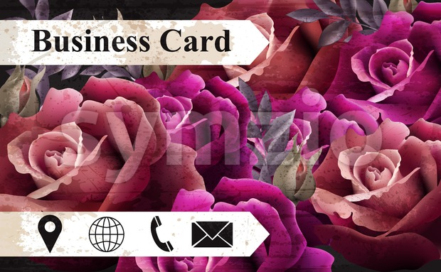 Business card with colorful realistic roses Vector. icons template. Beautiful background Stock Vector